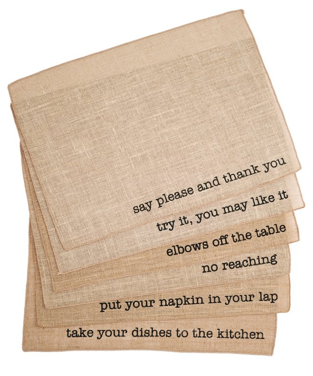S/6 Assorted Manners Place Mats, Natural