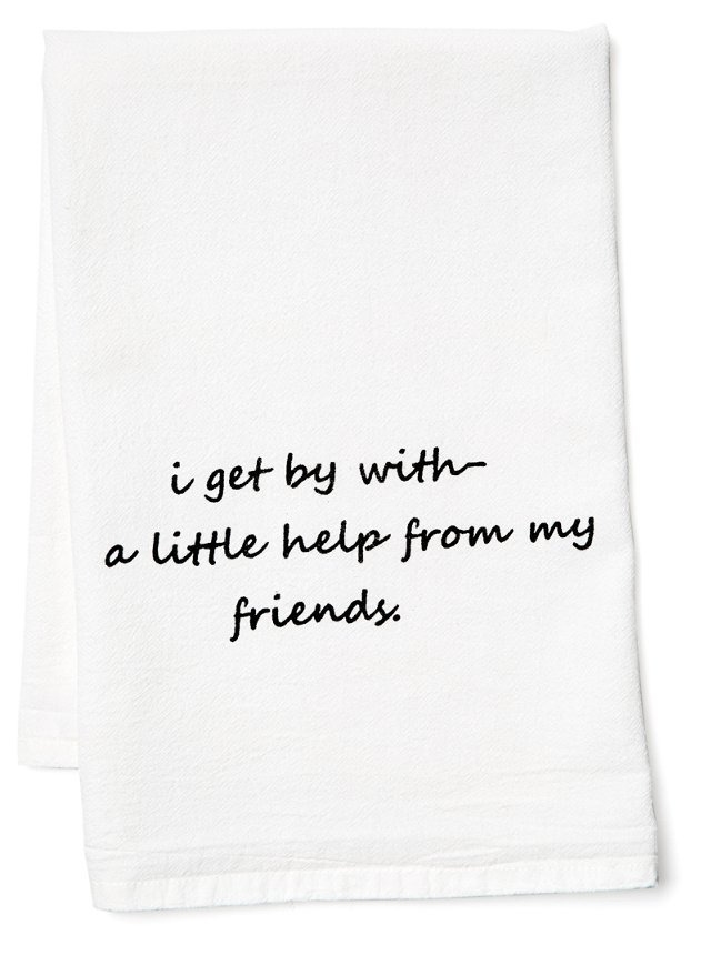 "S/2 ""I Get By"" Tea Towels, White"
