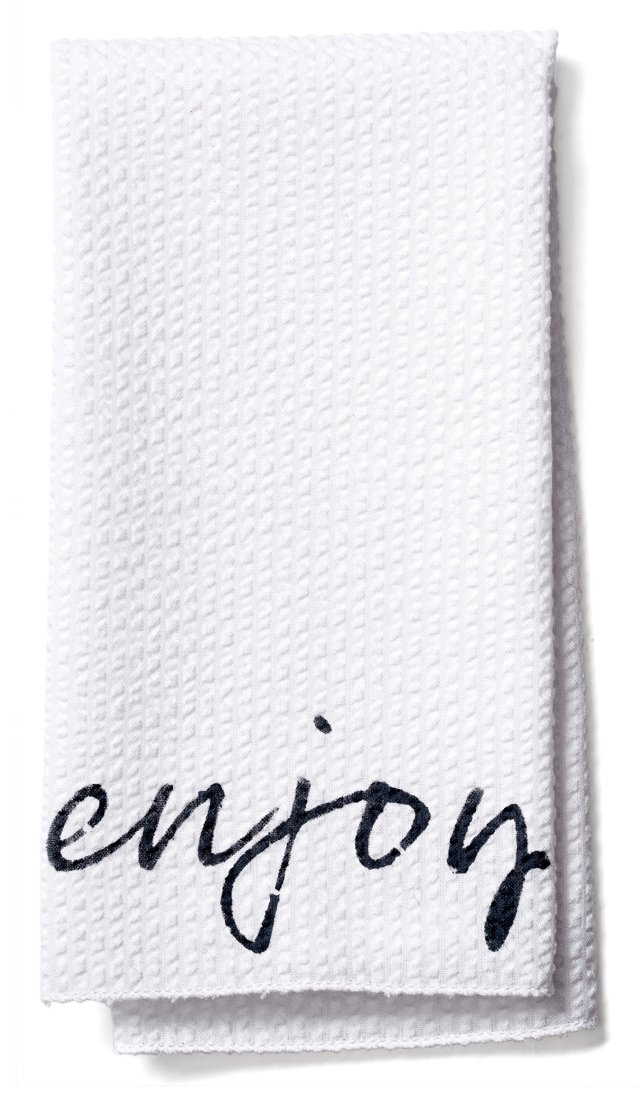 "S/4 ""Enjoy"" Seersucker Napkins"