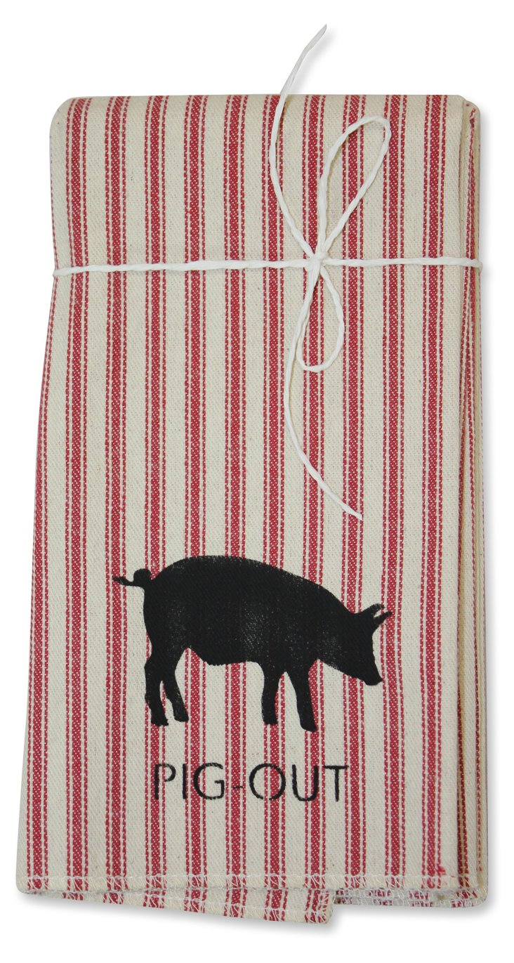 """S/4 """"Pig Out"""" Ticking Napkins, Red"""