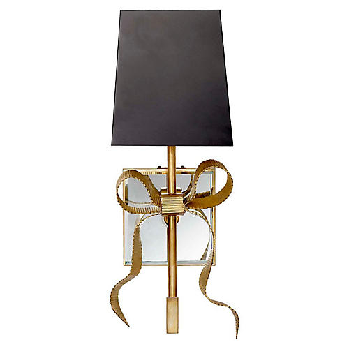 Ellery Bow Sconce, Soft Brass/Black