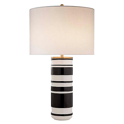 Hayes Table Lamp, White/Black