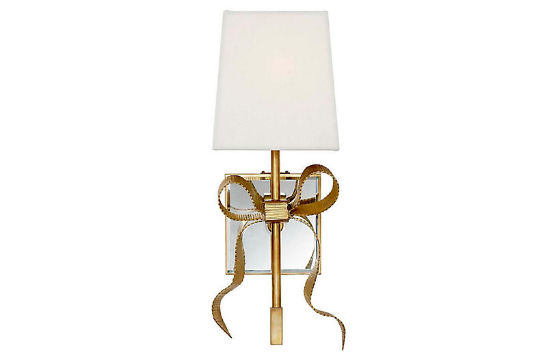 Ellery Bow Sconce, Soft Brass/Cream