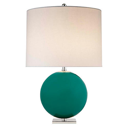Elsie Table Lamp, Turquoise/Cream