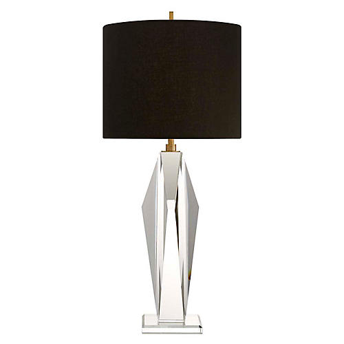 Castle Peak Crystal Table Lamp, Clear/Black