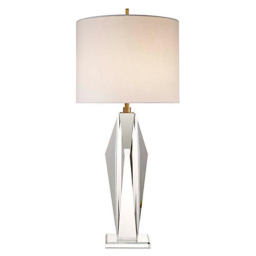 Castle Peak Crystal Table Lamp, Clear/Cream