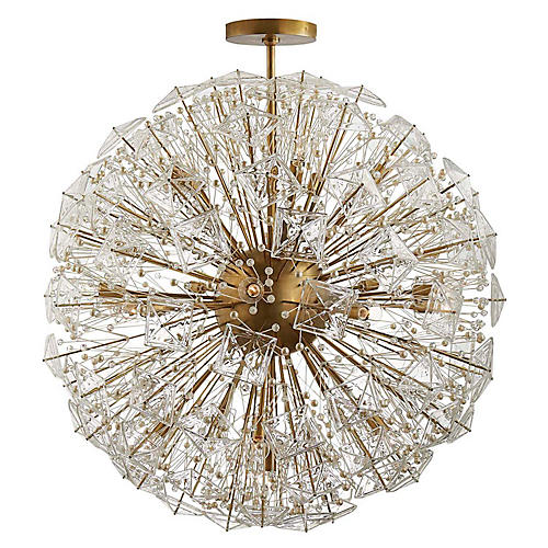 Dickinson Extra-Large Pendant, Soft Brass/Clear