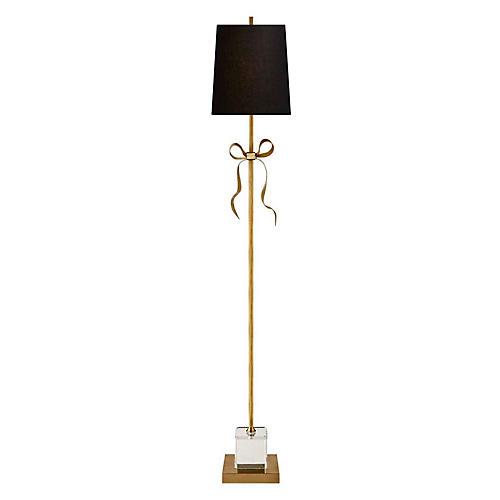 Ellery Floor Lamp, Soft Brass/Black