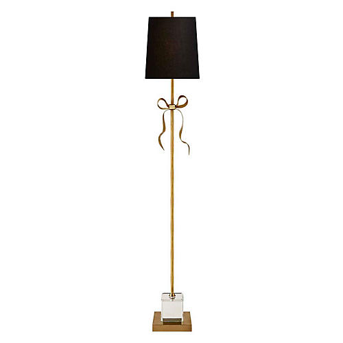 Ellery Floor Lamp, Soft Brass/Black