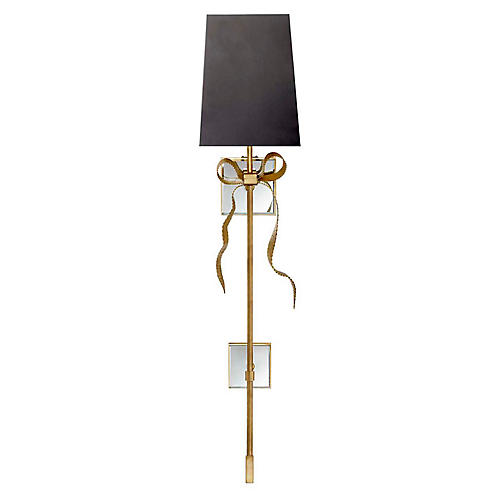 Ellery Tail Sconce, Soft Brass/Black