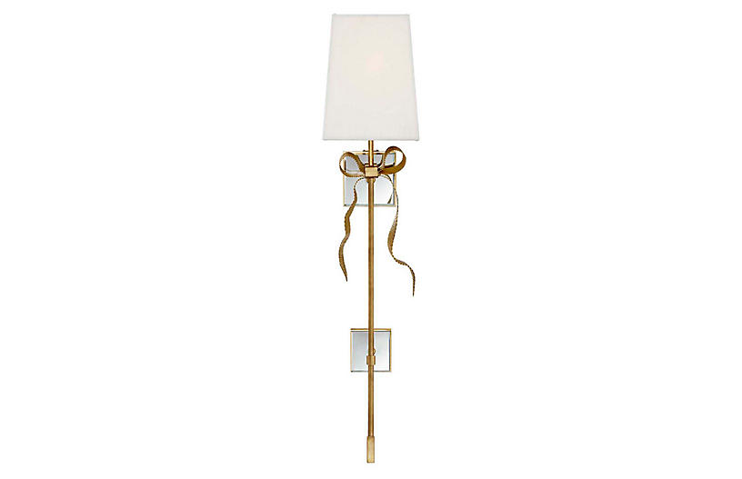 Ellery Tail Sconce, Soft Brass/Cream