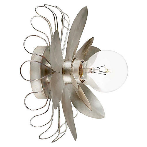 Keaton Mixed Floral Sconce, Silver Leaf
