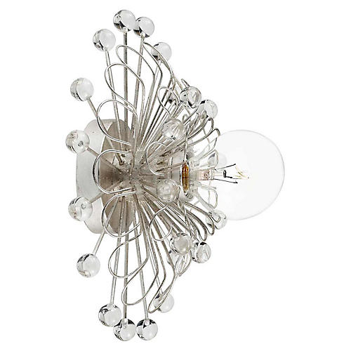 Keaton Wire Floral Sconce, Silver Leaf