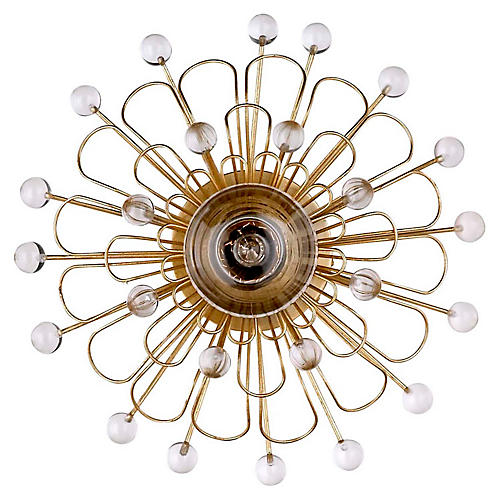 Keaton Wire Floral Sconce, Gild