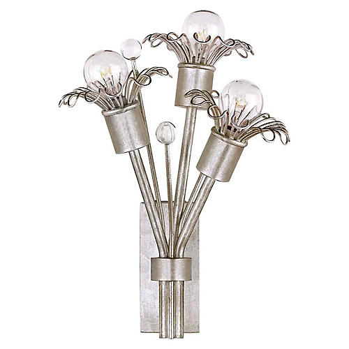 Keaton Extra-Small Bouquet Sconce, Silver Leaf