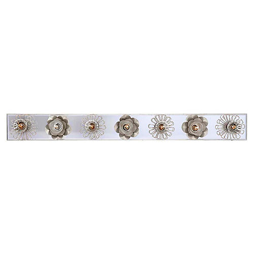 "Keaton 36"" Floral Sconce, Silver Leaf"