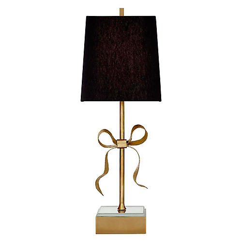 Ellery Table Lamp, Soft Brass/Black
