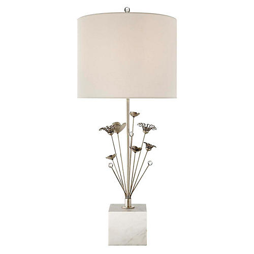 Keaton Bouquet Table Lamp, White Marble/Silver