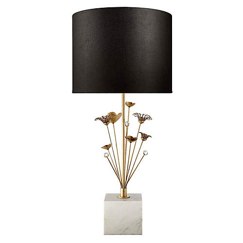 Keaton Bouquet Table Lamp, White Marble/Black