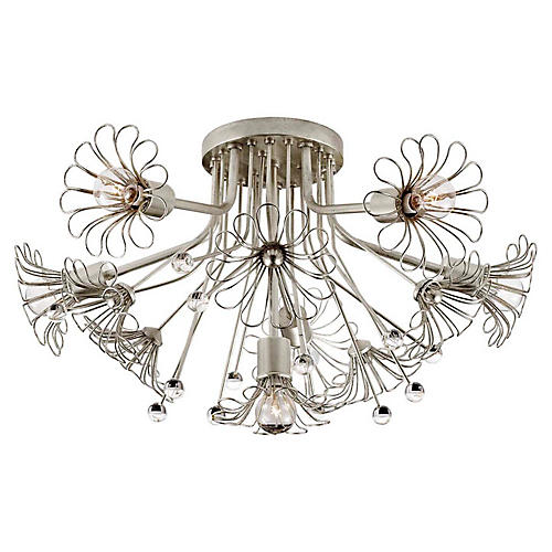 Keaton Bouquet Flush Mount, Silver Leaf