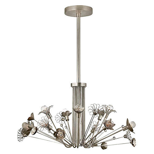 Keaton Bouquet Chandelier, Silver Leaf
