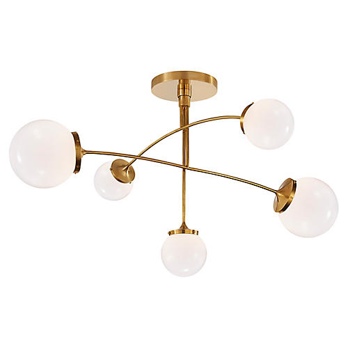 Prescott Mobile Chandelier, Soft Brass/White