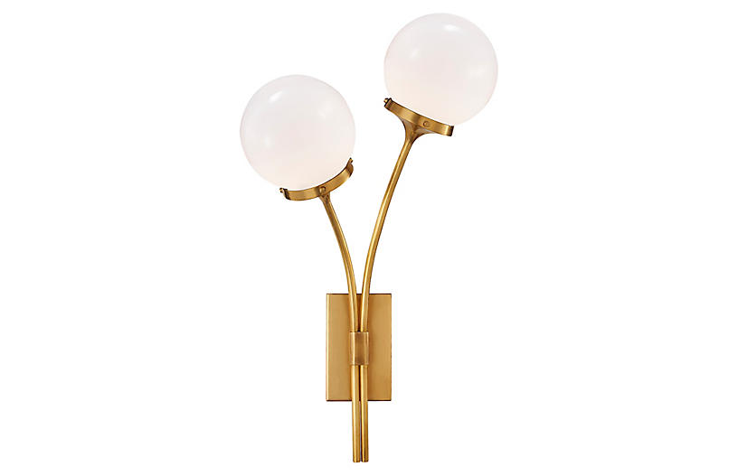 Prescott Left Sconce, Soft Brass/White