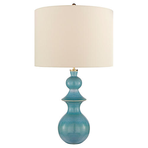 Saxon Table Lamp, Sandy Turquoise
