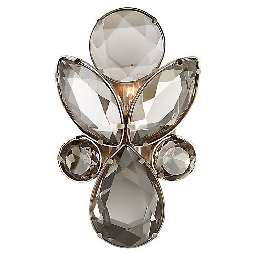 Lloyd Small Sconce, Antiqued Nickel/Smoky Crystal