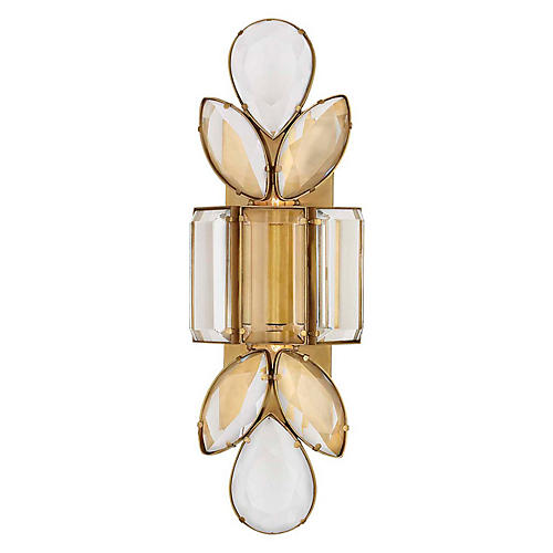 Lloyd Large Sconce, Soft Brass/Crystal