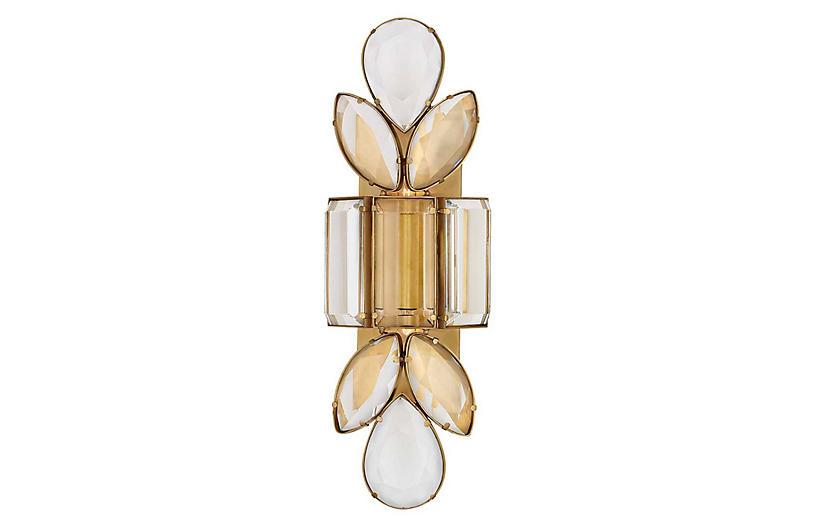 Lloyd Large Sconce, Soft Brass/Crystal