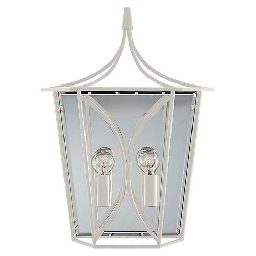 Cavanagh Medium Lantern Sconce, Light Cream