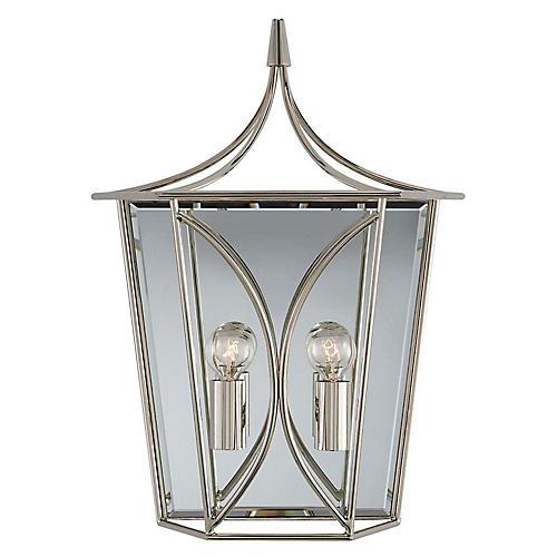 Cavanagh Medium Lantern Sconce, Polished Nickel