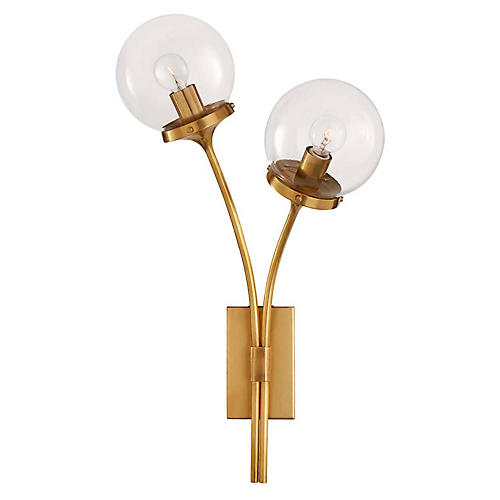 Prescott Right-Facing Sconce, Soft Brass
