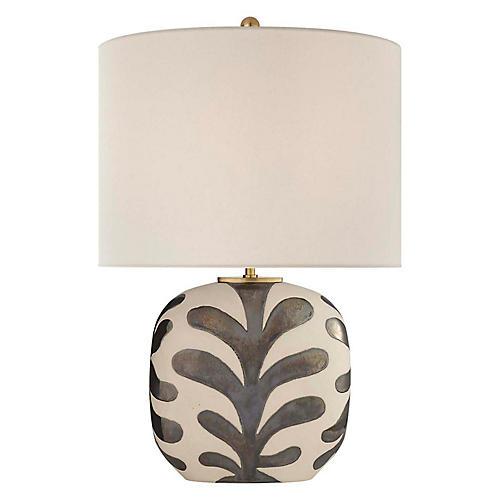 Parkwood Medium Table Lamp, Bisque/Black Pearl