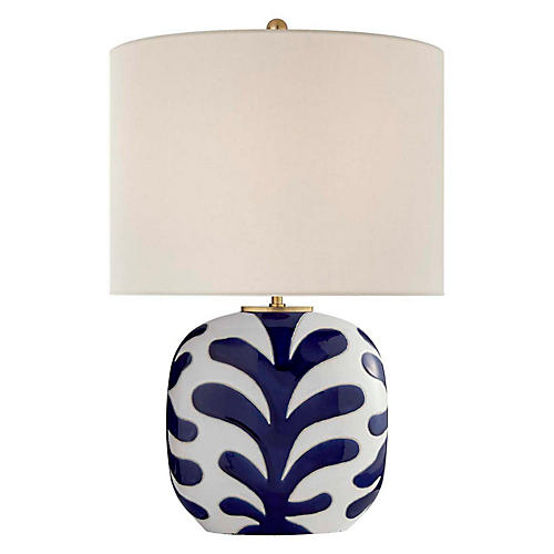 Parkwood Medium Table Lamp, New White/Cobalt