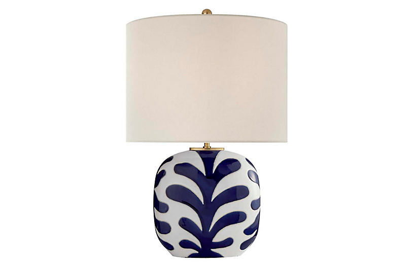 Parkwood Medium Table Lamp, New White/Cobalt