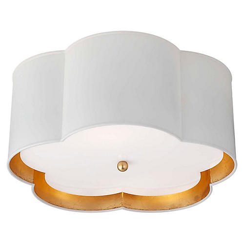 Bryce Medium Flush Mount, Plaster White/Gild