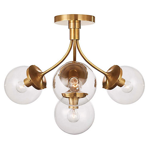 Prescott Medium Semi-Flush Mount, Soft Brass/Clear