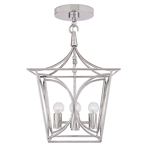 Cavanagh Mini Lantern, Polished Nickel