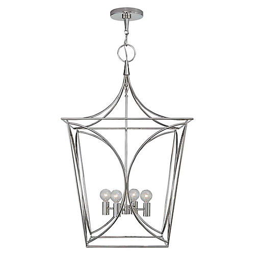 Cavanagh Medium Lantern, Polished Nickel