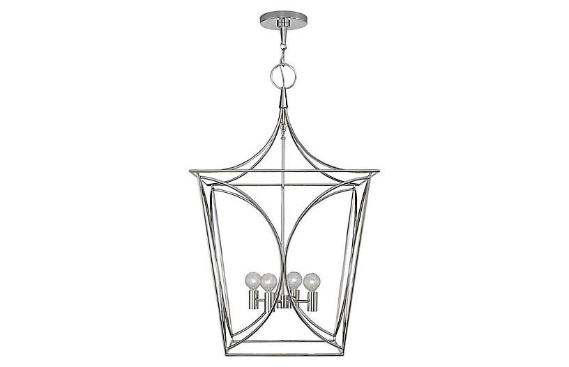Cavanagh Medium Lantern, Polished Nickel