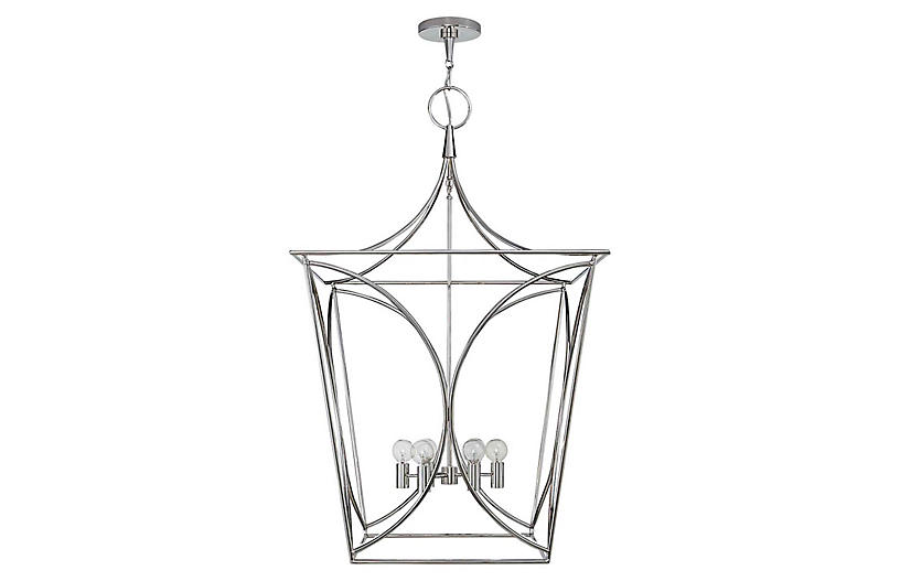 Cavanagh Large Lantern, Polished Nickel