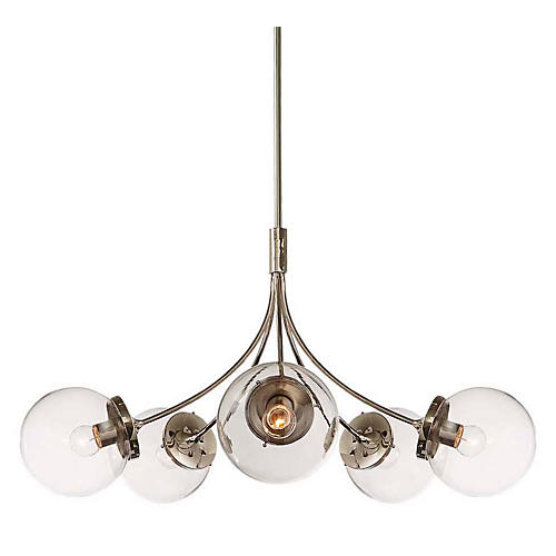 Prescott Medium Round Chandelier, Nickel/Clear