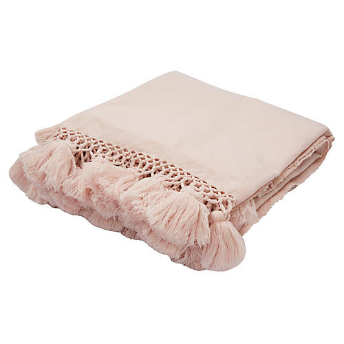 Pattern Tassel Acrylic Throw, Pink