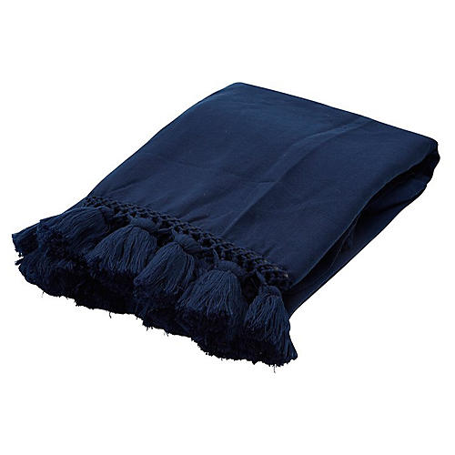 Pattern Tassel Acrylic Throw, Navy