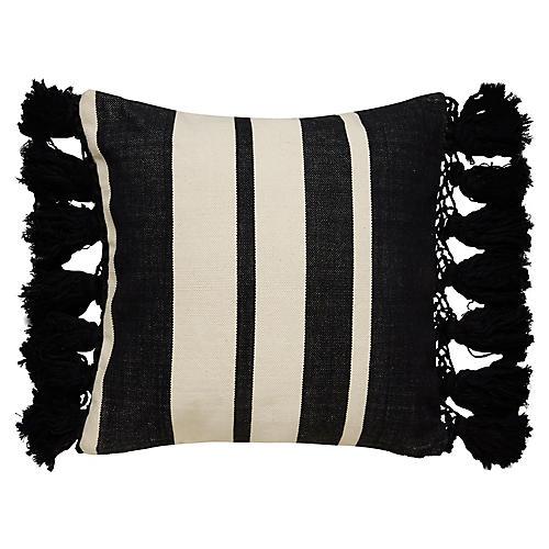 Yorkville 20x20 Tribal Pillow, Black/Cream