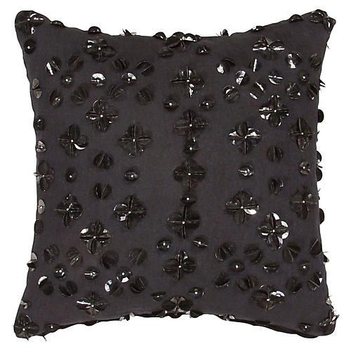 Yorkville 16x16 Tribal Pillow, Black Linen