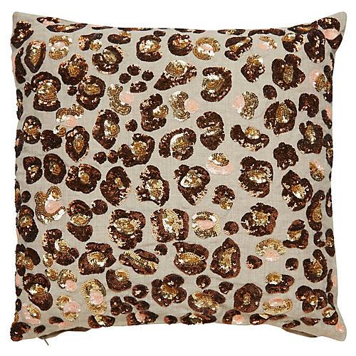 Yorkville 16x16 Tribal Pillow, Brown/Neutral Linen