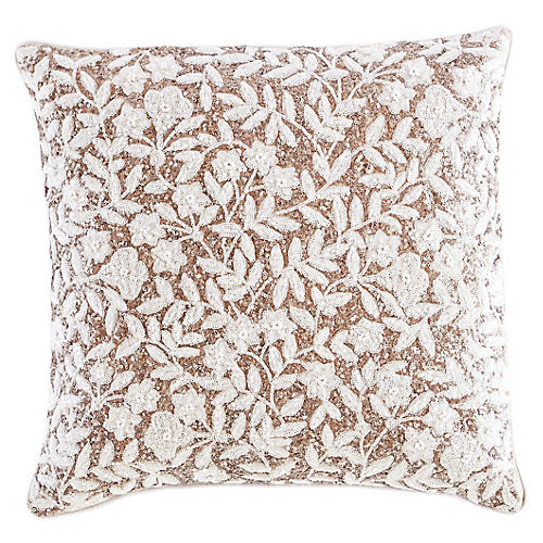 Yorkville 18x18 Square Pillow, White/Cream Linen